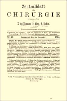 Über perineale Prostatektomien, Zentralblatt für Chirurgie, 1904, Bd. 31, No. 47, S. 1367-1369