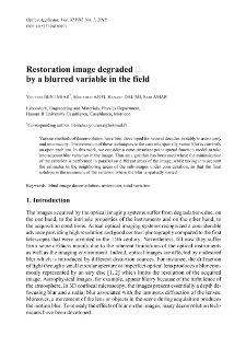 Restoration image degraded by a blurred variable in the field
