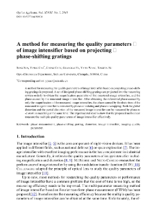 A method for measuring the quality parameters of image intensifier based on projecting phase-shifting gratings