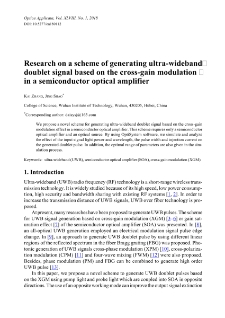 Research on a scheme of generating ultra-wideband doublet signal based on the cross-gain modulation in a semiconductor optical amplifier