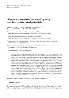 Binocular summation evaluated by early and late visual evoked potentials