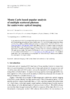 Monte Carlo based angular analysis of multiple scattered photons for underwater optical imaging