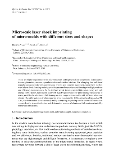 Microscale laser shock imprinting of micro-molds with different sizes and shapes