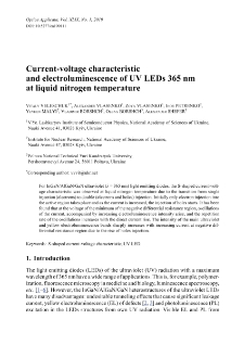 Current-voltage characteristic and electroluminescence of UV LEDs 365 nm at liquid nitrogen temperature