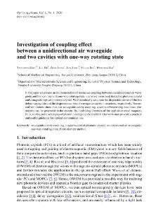 Investigation of coupling effect between a unidirectional air waveguide and two cavities with one-way rotating state