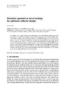 Structure equation as novel strategy for optimum reflector design