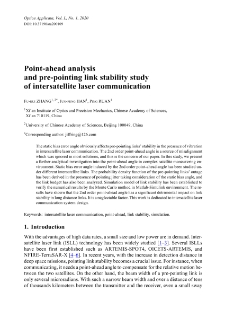 Point-ahead analysis and pre-pointing link stability study of intersatellite laser communication