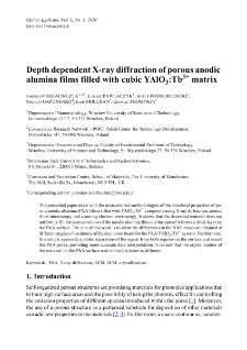 Depth dependent X-ray diffraction of porous anodic alumina films filled with cubic YAlO3:Tb3+ matrix