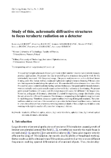 Study of thin, achromatic diffractive structures to focus terahertz radiation on a detector