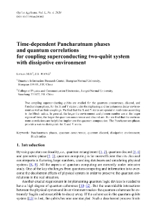Time-dependent Pancharatnam phases and quantum correlations for coupling superconducting two-qubit system with dissipative environment