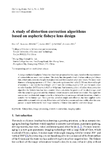A study of distortion correction algorithms based on aspheric fisheye lens design