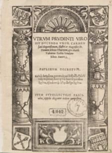 Utrum Prudenti Viro Sit Ducenda Uxor Carmen [...]