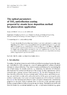 The optical parameters of TiO2 antireflection coating prepared by atomic layer deposition method for photovoltaic application