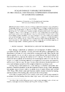 Scalar damage variable determined in the uniaxial and triaxial compression conditions of sandstone samples