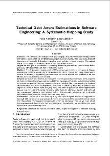 Technical Debt Aware Estimations in Software Engineering: A Systematic Mapping Study
