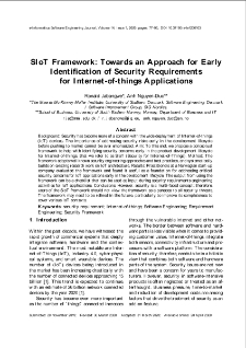 SIoT Framework: Towards an Approach for Early Identification of Security Requirements for Internet-of-things Applications