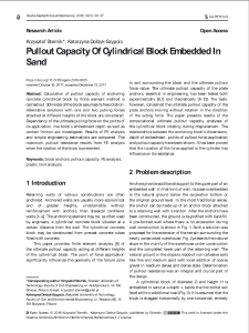 Pullout Capacity Of Cylindrical Block Embedded In Sand