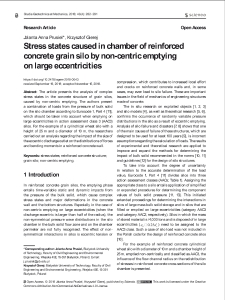 Stress states caused in chamber of reinforced concrete grain silo by non-centric emptying on large eccentricities