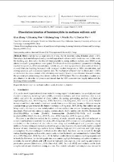 Dissolution kinetics of hemimorphite in methane sulfonic acid
