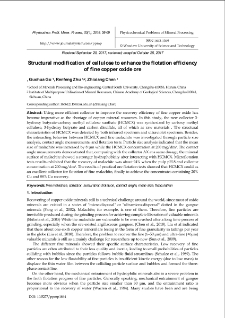 Structural modification of cellulose to enhance the flotation efficiency of fine copper oxide ore