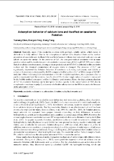 Adsorption behavior of calcium ions and its effect on cassiterite flotation