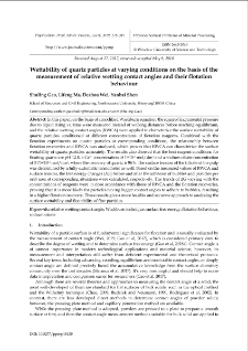 Wettability of quartz particles at varying conditions on the basis of the measurement of relative wetting contact angles and their flotation behaviour