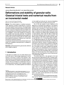 Deformations and stability of granular soils: Classical triaxial tests and numerical results from an incremental model