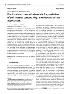 Empirical and theoretical models for prediction of soil thermal conductivity: a review and critical assessment