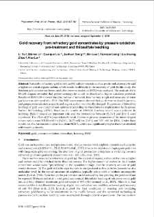 Gold recovery from refractory gold concentrates by pressure oxidation pre-treatment and thiosulfate leaching