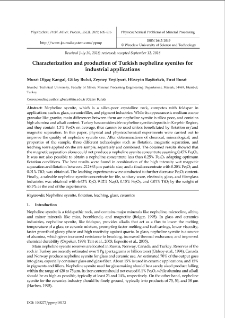Characterization and production of Turkish nepheline syenites for industrial applications