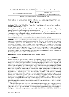 Evaluation of ammonium citrate tribasic as a leaching reagent for lead-bearing ore
