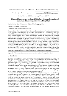 Effects of Temperature on Fe and Ti in Carbothermic Reduction of Vanadium Titanomagnetite with adding MgO
