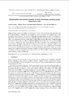 Optimization and kinetics studies of lead concentrate leaching using fluoroboric acid