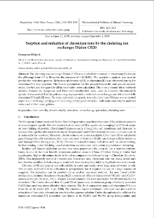Sorption and reduction of chromium ions by the chelating ion exchanger Diaion CR20