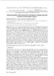 Surface properties of the doped silica hydrophobic coatings deposited on plasma activated glass supports