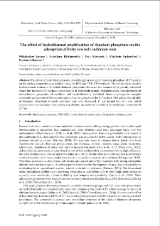 The effect of hydrothermal modification of titanium phosphate on the adsorption affinity towards cadmium ions