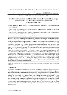 Synthesis of vanadium-enriched oxide materials via modified sol-gel route with the use of waste solutions contaminated with vanadium ions