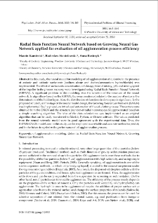 Radial Basis Function Neural Network based on Growing Neural Gas Network applied for evaluation of oil agglomeration process efficiency