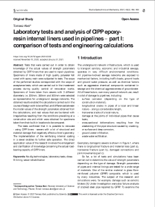 Laboratory tests and analysis of CIPP epoxy-resin internal liners used in pipelines - part I: comparison of tests and engineering calculations