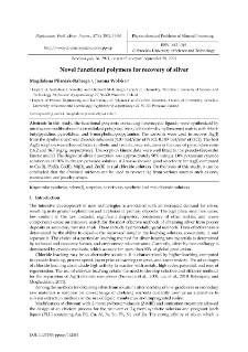 Novel functional polymers for recovery of silver