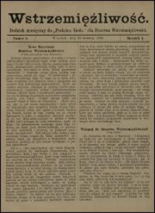 """Wstrzemięźliwość : dodatek miesięczny do """"Posłańca Niedz."""" dla Bractwa Wstrzemięźliwości. R. 1 (1900), nr 2"""