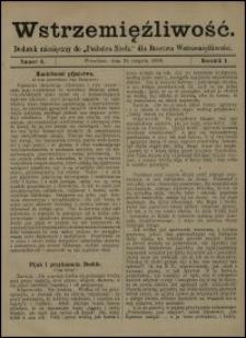 """Wstrzemięźliwość : dodatek miesięczny do """"Posłańca Niedz."""" dla Bractwa Wstrzemięźliwości. R. 1 (1900), nr 6"""