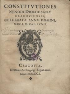 Constitutiones Synodi Dioecesanae Cracoviensis, Celebratae Anno Domini M.DC.I. X. Kal. Iunii