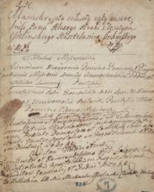 Manuskrypta własną ręką pisane jmp. Alexego hrabi z Tęczyna Ossolińskiego, kasztelanica czechowskiego. [Odpisy mów, listów, akt publicznych i innych materiałów przeważnie treści politycznej z lat 1688-1740]