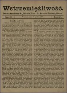 """Wstrzemięźliwość : dodatek miesięczny do """"Posłańca Niedz."""" dla Bractwa Wstrzemięźliwości. R. 2 (1901), nr 7"""