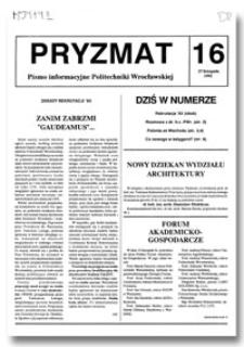 Pryzmat : Pismo Informacyjne Politechniki Wrocławskiej. 27 listopada 1992, nr 16