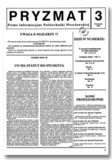 Pryzmat : Pismo Informacyjne Politechniki Wrocławskiej. 8 stycznia 1992, nr 3