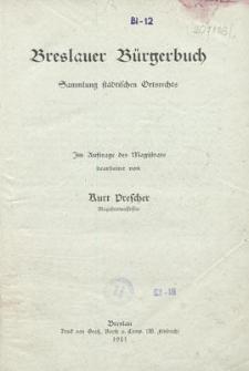 Breslauer Bürgerbuch : Sammlung städtischen Ortsrechts