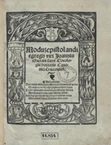Modus epistolandi egregii viri Joannis Sacrani sacre Theologie doctoris Canonici Cracovien[sis]
