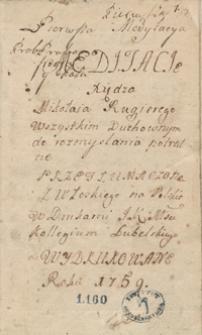 Medytacye księdza Mikołaja Rugierego wszystkim duchownym do rozmyślania potrzebne, przetłumaczone z włoskiego na polskie